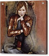In Her World, 2005 Pen & Ink With Oil On Paper Acrylic Print