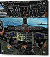 In The Cockpit Of A Kc-135 Stratotanker  Acrylic Print