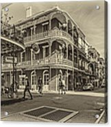 In The French Quarter Sepia Acrylic Print