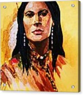 Maiden In White Feather And Beads Acrylic Print