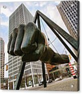 In Your Face -  Joe Louis Fist Statue - Detroit Michigan Acrylic Print