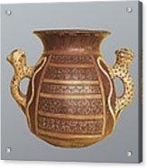 Inca Vase With Geometric Decoration Acrylic Print
