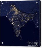 India At Night Satellite Image Acrylic Print