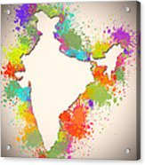 India Watercolor Map Painting Acrylic Print
