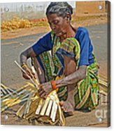 Indian Aged Woman Working Acrylic Print
