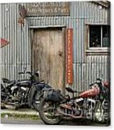 Indian Chout And Chief Bobber At The Old Okains Bay Garage Acrylic Print