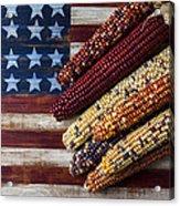 Indian Corn On American Flag Acrylic Print by Garry Gay