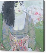 Indian Earring Dark-haired Girl In Green Oil On Canvas Acrylic Print