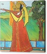Indian Lady Playing Ancient Musical Instrument Acrylic Print