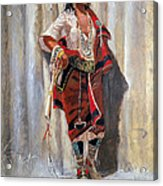 Indian Maid At Stockade By Charles Marion Russell Acrylic Print