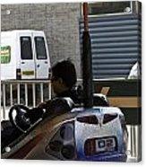 Indian Man Enjoying In A Bumper Cars Ride In An Entertainment Park Acrylic Print