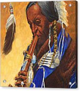 Indian Playing Flute Acrylic Print