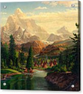 Indian Village Trapper Western Mountain Landscape Oil Painting - Native Americans -square Format Acrylic Print