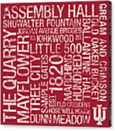 Indiana College Colors Subway Art Acrylic Print by Replay Photos