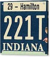 Indiana License Plate Acrylic Print
