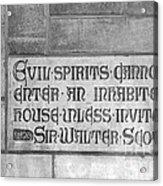 Indiana University Memorial Hall Inscription Acrylic Print