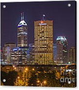 Indianapolis Night Skyline Echo Acrylic Print