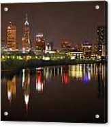 Indianapolis Skyline At Night Indy Downtown Color Panorama Acrylic Print