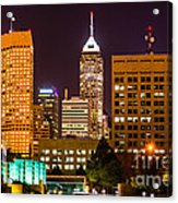 Indianapolis Skyline At Night Picture Acrylic Print by Paul Velgos
