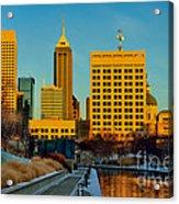 Indianapolis Skyline Dynamic Acrylic Print by David Haskett