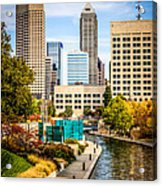 Indianapolis Skyline Picture Of Canal Walk In Autumn Acrylic Print