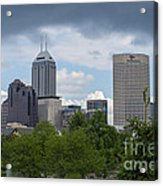 Indianapolis Skyline Storm 3 Acrylic Print by David Haskett