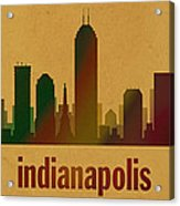 Indianapolis Skyline Watercolor On Parchment Acrylic Print