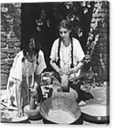 Indians Using Mortar And Pestle Acrylic Print