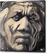 Indio Indian Black And White Oil Painting Acrylic Print