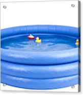 Inflatable Swimming Pool With Rubber Duck And Toy Acrylic Print