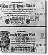Inflated German Mark Bills Acrylic Print