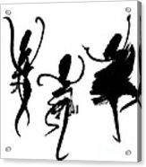 Ink Painting With Abstract Dancers  Acrylic Print