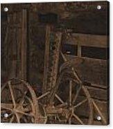 Inside The Barn In Sepia Acrylic Print