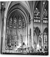 Inside The Cathedral Basilica Of The Immaculate Conception 1 Bw Acrylic Print
