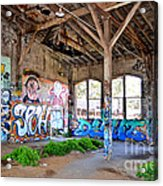 Inside The Old Train Roundhouse At Bayshore Near San Francisco And The Cow Palace II Acrylic Print