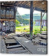Inside The Old Train Roundhouse At Bayshore Near San Francisco And The Cow Palace Iv Acrylic Print