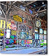Inside The Old Train Roundhouse At Bayshore Near San Francisco And The Cow Palace V  Acrylic Print