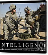 Intelligence Inspirational Quote Acrylic Print
