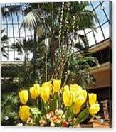 Interior Decorations Butterfly Gardens Vegas Golden Yellow Tulip Flowers Acrylic Print