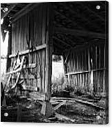 Interior Of Barn In Plainville Indiana Acrylic Print by Julie Dant