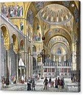 Interior Of San Marco Basilica, Looking Acrylic Print by Italian School