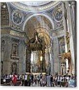 Interior Of St Peter's Dome. Vatican City. Rome. Lazio. Italy. Europe Acrylic Print by Bernard Jaubert