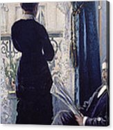 Interior Woman At The Window Acrylic Print by Gustave Caillebotte