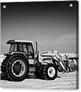 international 5140 tractor with front end loader on frozen field Forget Saskatchewan Canada Acrylic Print