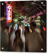 International Cafe Neon Sign And Street Scene At Night Santa Monica Ca Landscape Acrylic Print