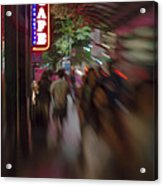 International Cafe Neon Sign And Street Scene At Night Santa Monica Ca Portrait Acrylic Print