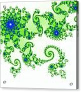 Intricate Green Blue Fractal Based On Julia Set Acrylic Print