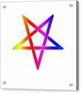 Inverted Rainbow Pentagram Acrylic Print