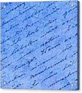 Iphone Case Blue Handwriging Acrylic Print