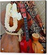 Ipu Heke And Red Ukulele With White Satin Lei Acrylic Print